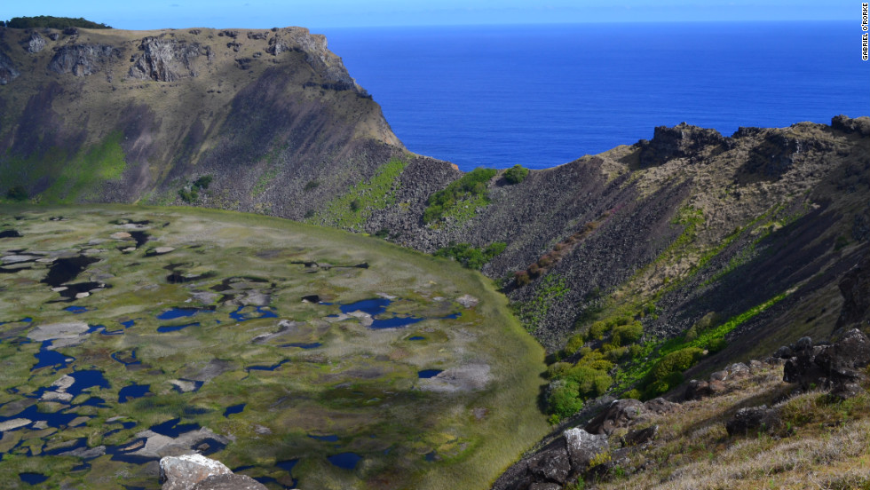 The island is primarily made up of three extinct volcanoes: Terevaka, Poike and Rano Kau. The latter makes up the south 'wing' of the island. It has a huge crater (pictured) and sits astride the ceremonial village of Orongo, which has breathtaking 360-degree views of the island and Pacific Ocean.