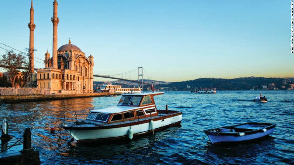 The Four Seasons Around the World jet stops in Istanbul, sitting on the border between Asia and Europe, where jet-setters might want to visit the Hagia Sophia and the Grand Bazaar.