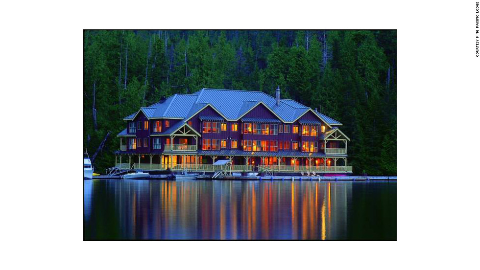A private charter and transfer to a float plane is the only way for visitors to get to King Pacific Lodge, which is anchored along the shore of Princess Royal Island in British Columbia, Canada.