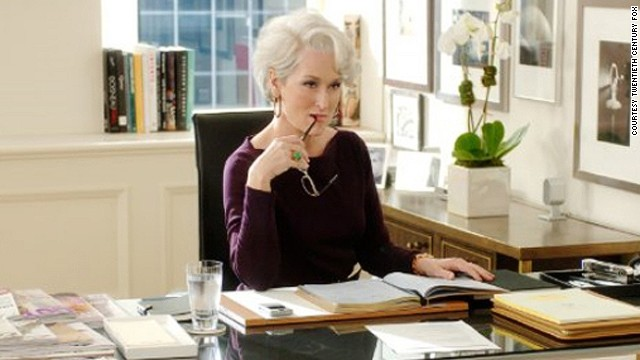 Meryl Streep playing bullying boss Miranda Priestly in The Devil Wears Prada.