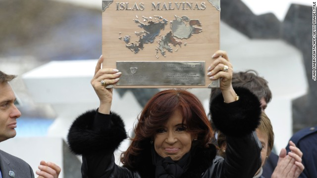 Argentinian President Cristina Fernandez de Kirchner pictured in 2012 marking the anniversary of the Falklands war.