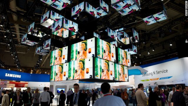 Attendees walk through the Samsung booth at last year's International Consumer Electronics Show in Las Vegas.