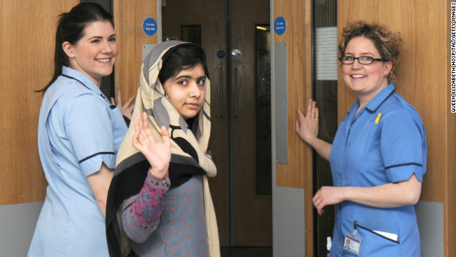 Malala Yousafzai leaves a hospital Friday in Birmingham, England. She was treated there after the Taliban shot her in the head.