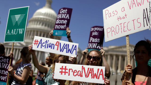 Demonstrators rally for the Violence Against Women Act on Capitol Hill last summer. The Senate approved the measure Tuesday.