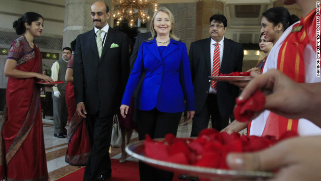 Hillary Clinton in Kolkata, India, last May. Clinton said that women still suffered from a 'glass ceiling' in politics.