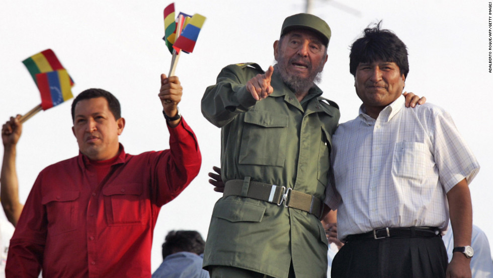 Chavez, left, stands in front of supporters with Fidel Castro of Cuba, center, and Evo Morales of Bolivia, right, during a rally at the Plaza de la Revolucion in Havana, Cuba, on April 29, 2006.