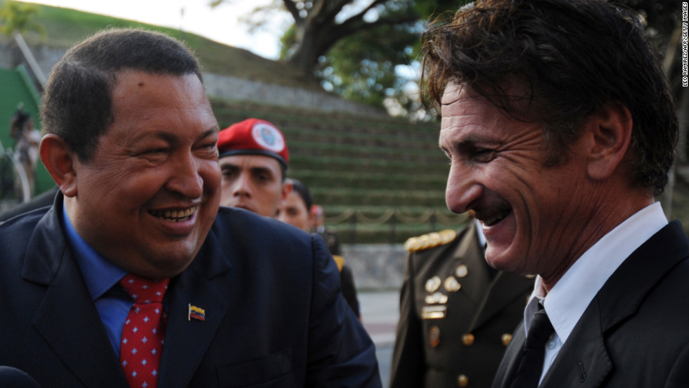 Chavez, left, jokes with American actor Sean Penn, right, during his visit to Miraflores presidential palace in Caracas on February 16, 2012. Penn thanked Chavez for the support given by the Venezuelan government to his nongovernmental organization, which benefits victims of the 2010 Haiti earthquake.