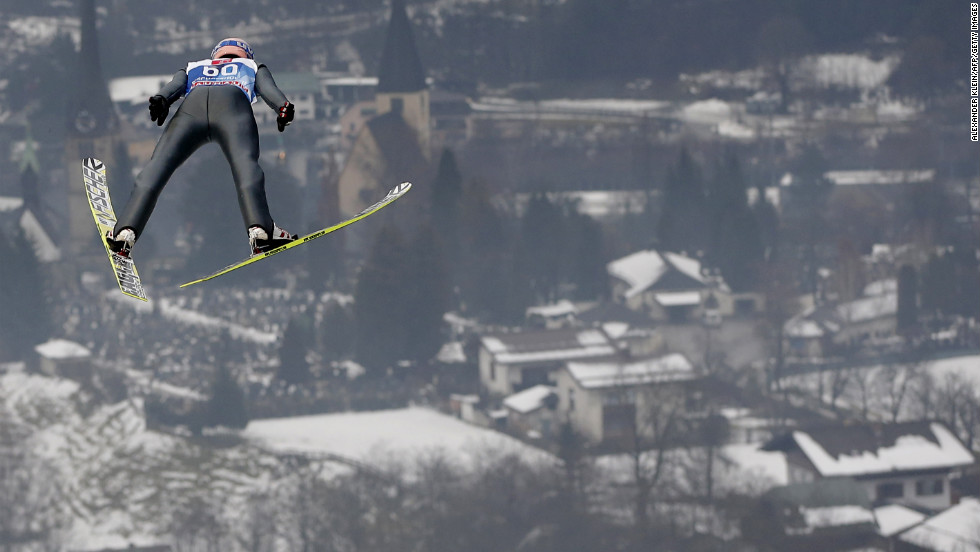 Austria's Gregor Schlierenzauer jumps during a practice session of the 61st Four Hills Tournament on Saturday, January 5, in Bischofshofen, Austria.