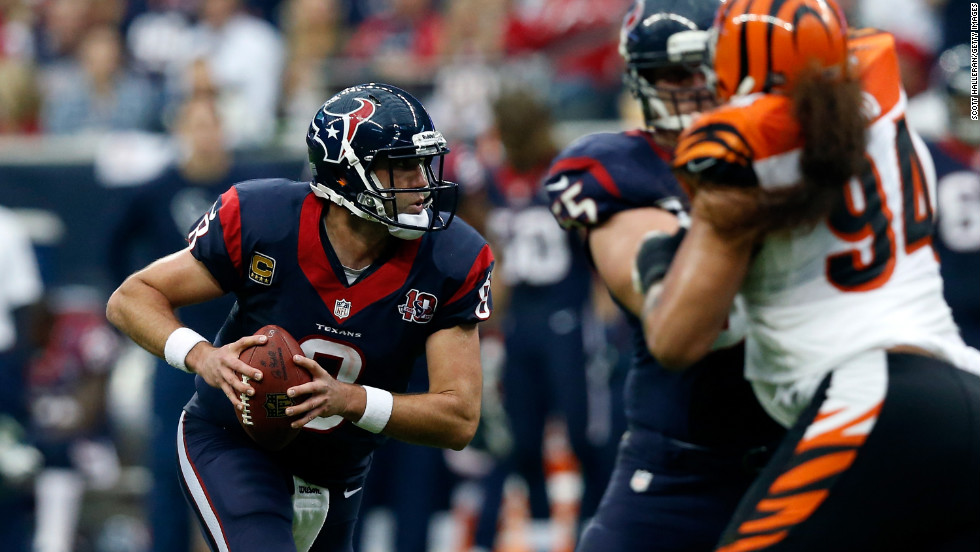 Quarterback Matt Schaub of the Houston Texans looks to pass in the first half against the Bengals.