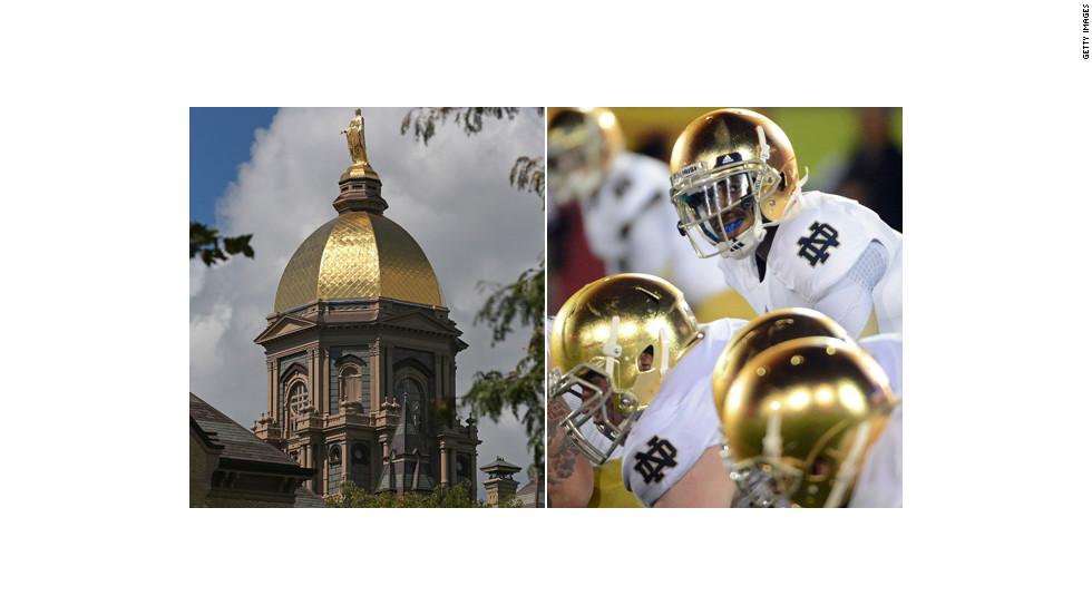 "The gold Notre Dame football helmet was designed to mirror the university's ""Golden Dome""  administration building."