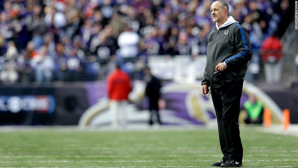 Head coach Chuck Pagano of the Indianapolis Colts looks on against the Baltimore Ravens on Sunday.
