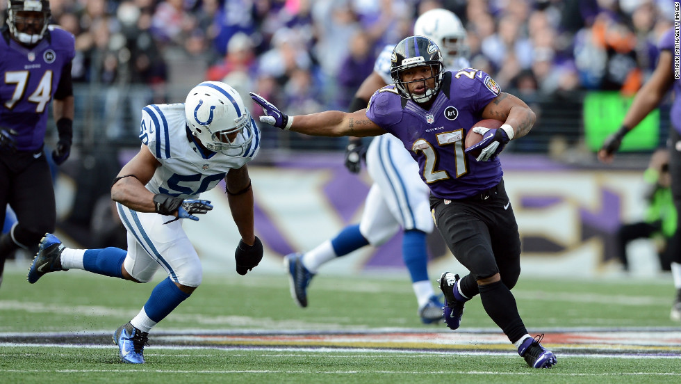 Ray Rice of the Baltimore Ravens runs the ball against Jerrell Freeman of the Indianapolis Colts on Sunday.