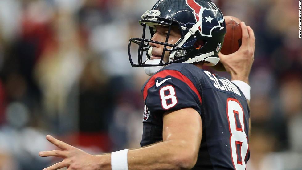 Houston quarterback Matt Schaub winds up to throw a pass.