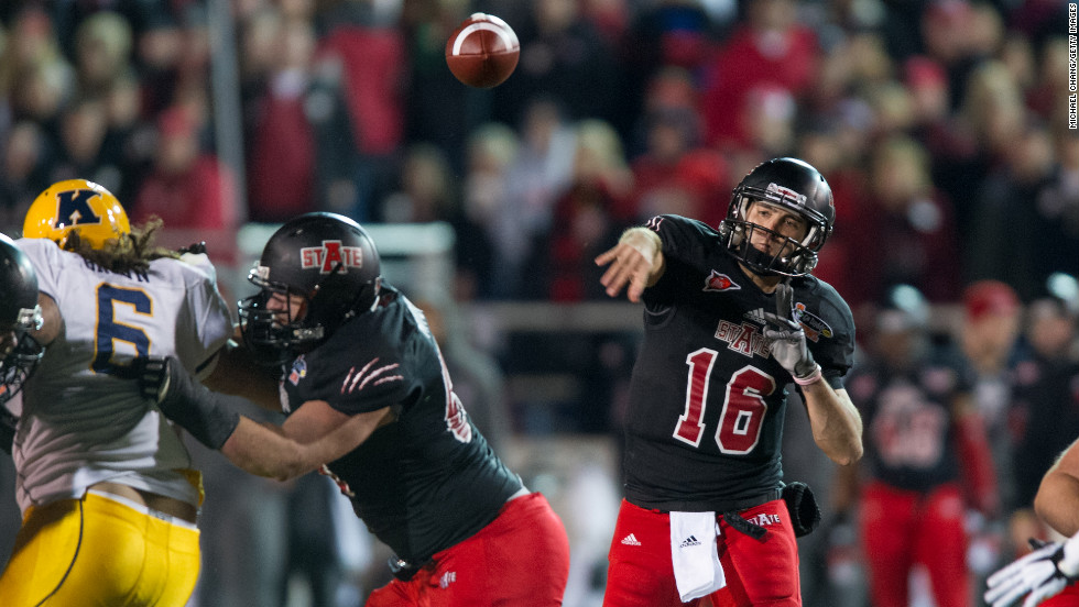 Arkansas State quarterback Ryan Aplin throws a pass during the game against Kent State on January 6.