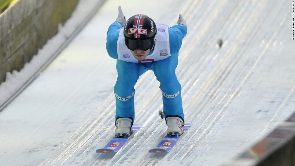Norway's Anders Jacobsen competes during the trial round of the tournament on Sunday.
