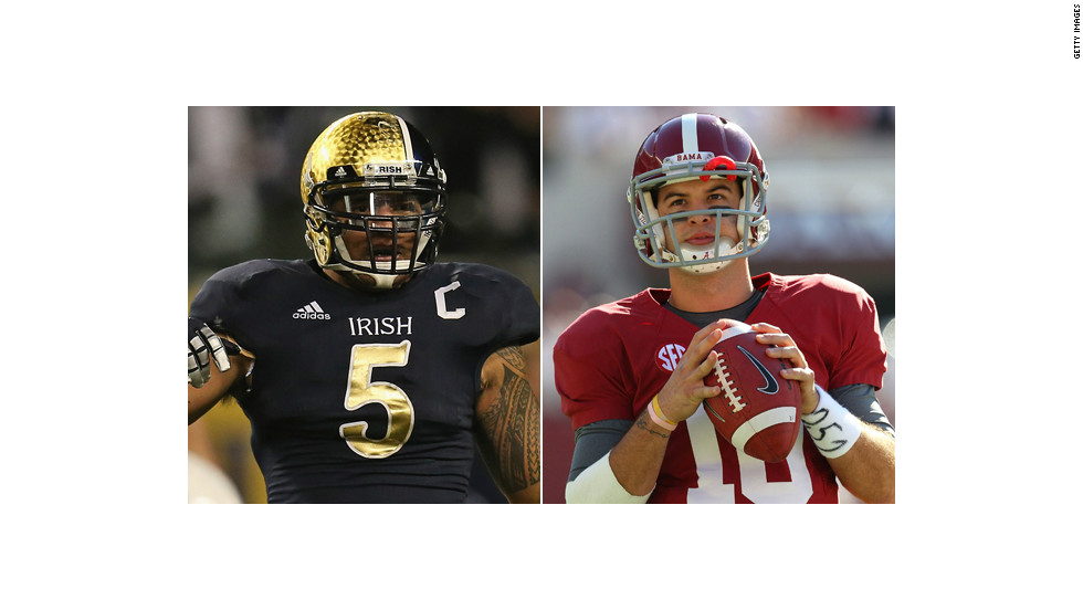 Linebacker Manti Te'o (L) of the Notre Dame Fighting Irish; and quarterback AJ McCarron (R) of the Alabama Crimson Tide.