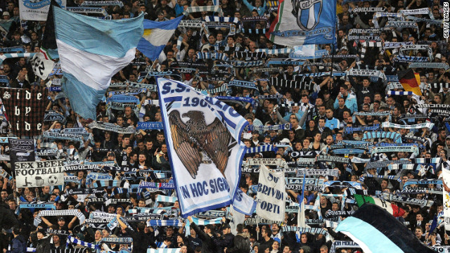 Lazio fans show their support during a Serie A match against city rivals AS Roma in November 2012.
