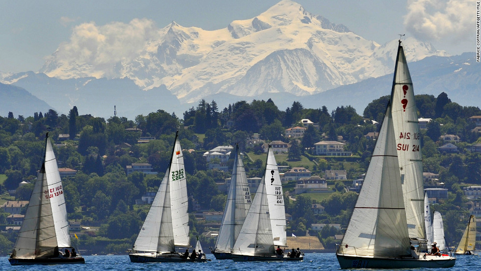 Boats race on Lake Geneva in the shadow of Mont Blanc, Europe's highest peak. Every year, Lake Geneva hosts the Bol d'Or race, one of the most important inland regattas in the world.