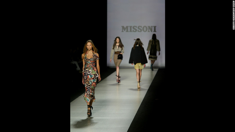 Models walk down the runway at the Missoni show during Milan Fashion Week on February 23, 2005. The private company is based in Milan and one of the premier fashion houses.