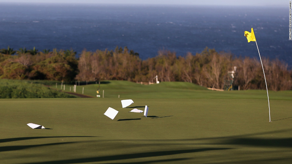 Winds reached almost 50 miles per hour at the Plantation Course in Kapalua, Hawaii.