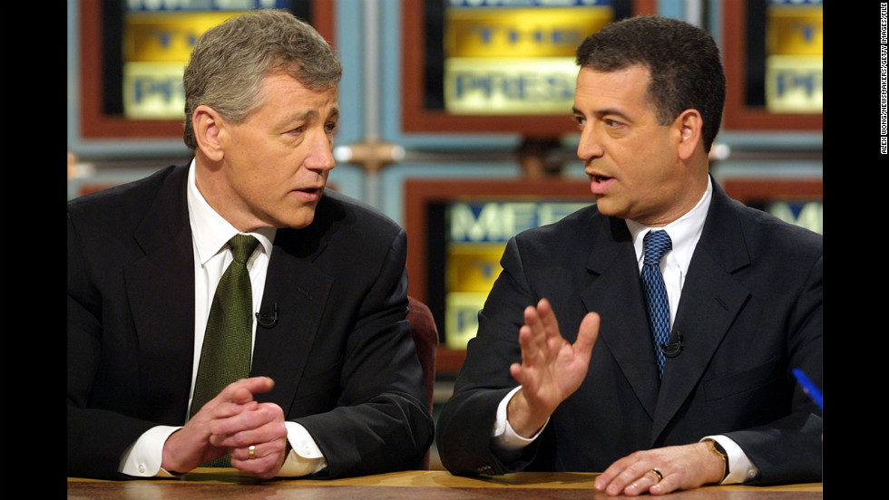 Hagel discusses the McCain-Feingold campaign finance reform bill with then-Sen. Russ Feingold on NBC's ''Meet the Press'' in March 2001.