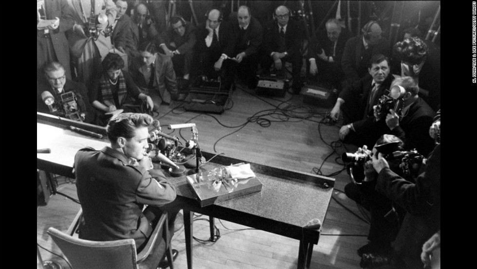 Elvis Presley at Fort Dix, New Jersey, shortly before his discharge from the U.S. Army in March 1960.