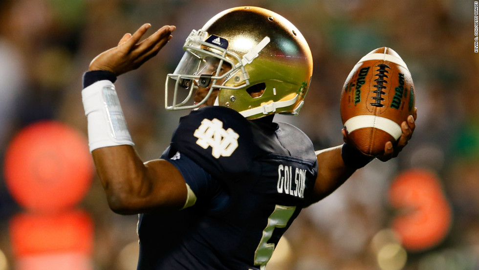 Notre Dame quarterback Everett Golson throws a pass during Monday's game against Alabama.