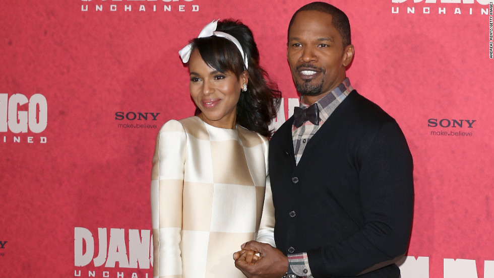"Kerry Washington and Jamie Foxx promote ""Django Unchained"" in Berlin, Germany."
