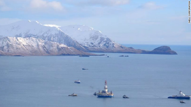 The Shell drilling rig Kulluk is under tow in January off Kodiak Island in the Gulf of Alaska.