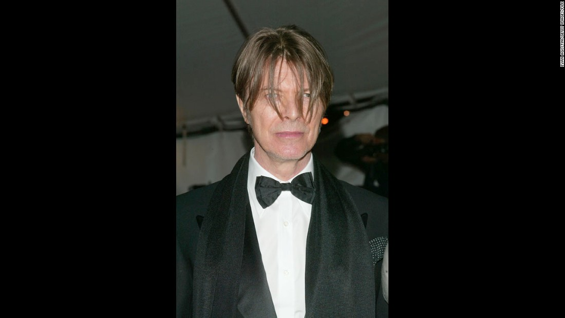 Bowie arrives at the Metropolitan Museum of Art Costume Institute Benefit Gala in April 2003 in New York.