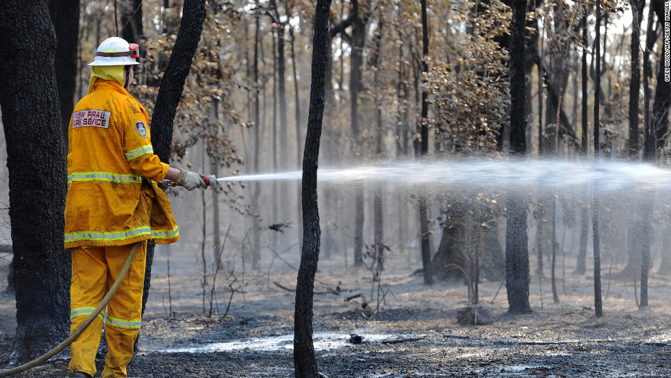 A firefighter douses trees from the Deans Gap fire near Nowra on New South Wales' southern coast on January 9.