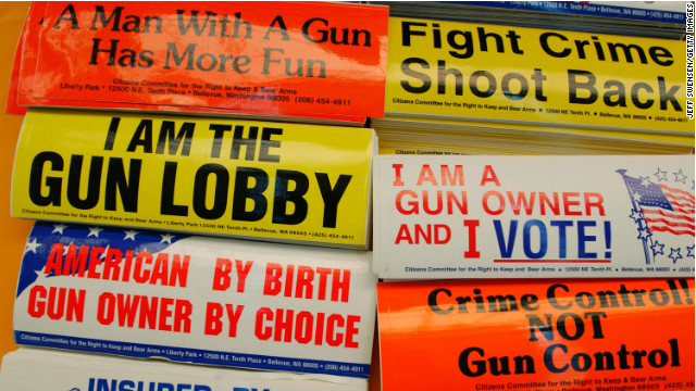 Bumper stickers for sale at a booth at the NRA's annual convention in 2004.