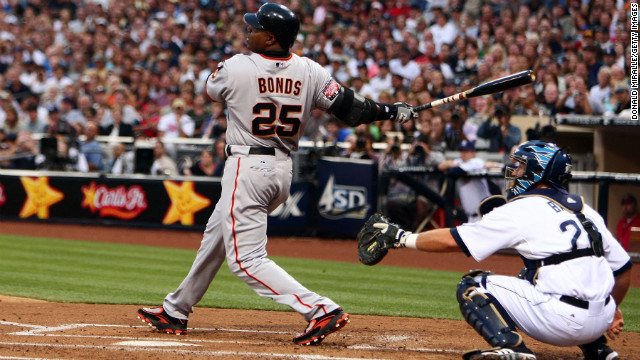 Barry Bonds hits his 755th home run in August 2007, tying Hank Aaron as the all-time leader. He finished his career with 762.