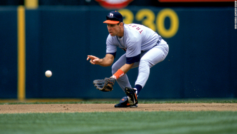 Alan Trammell of the Detroit Tigers fields a ground ball during a game against the Oakland Athletics at Oakland-Alameda Coliseum on June 25, 1996, in Oakland, California.