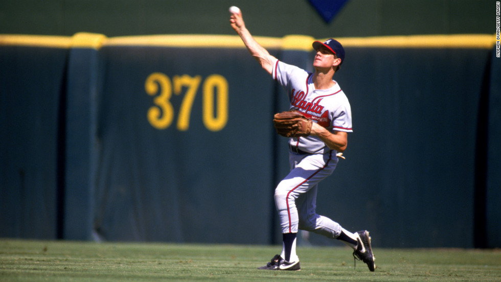 Dale Murphy of the Atlanta Braves throws the ball to the infield during a game against the San Diego Padres in 1987.