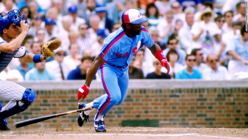 Outfielder Tim Raines of the Montreal Expos drops his bat and prepares to run during a 1989 game.