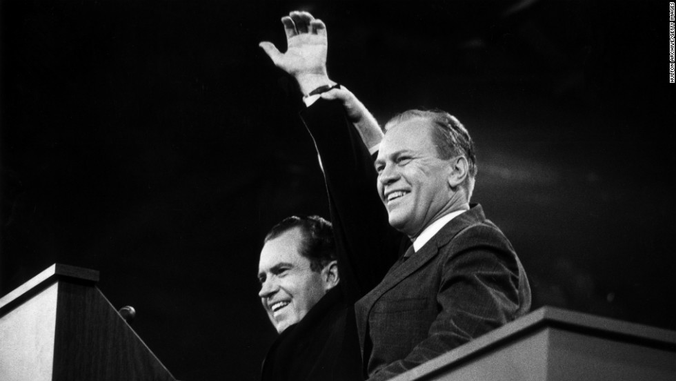In 1972, Nixon ran a successful re-election campaign. Gerald Ford, right, became his vice president when Spiro Agnew resigned in 1973.
