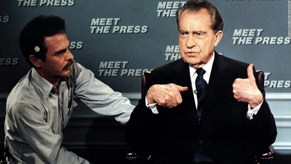 "Former President Nixon is wired for a microphone on April 9, 1988, before the taping of the NBC television show ""Meet the Press."" It was his first appearance on the show since 1968."