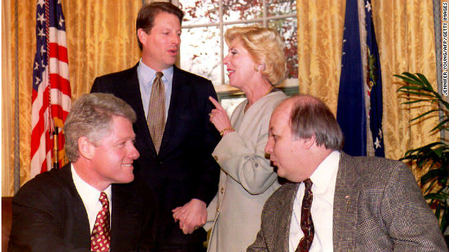 President Clinton and Al Gore congratulate Jim and Sarah Brady on the passage of the Brady Law in 1993.