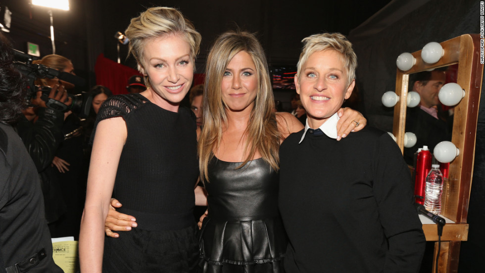 Portia de Rossi and Jennifer Aniston and Ellen DeGeneres