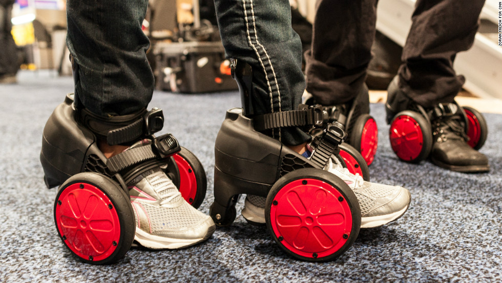 The world's smallest electric wheels, seen here on Wednesday, January 9, made by SPNKIX, go 10 miles per hour for seven miles and sell for $699. Over the years CES, under way this week in Las Vegas, has introduced such game-changing inventions as the Xbox and the Blu-ray player. What gadgets will make a splash this year? Here's a look at some of the more noteworthy ones.