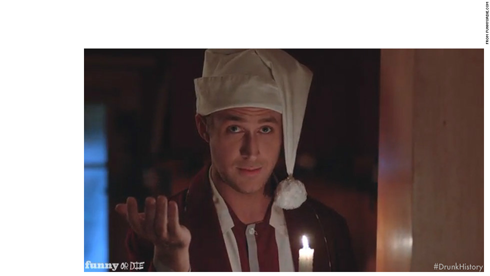 "With all the attention he receives, it's refreshing to see that Gosling can laugh at himself. <a href=""http://www.mtv.com/videos/movies/674454/hey-girl-with-ryan-gosling.jhtml"" target=""_blank"">He's game to read a series of ""Hey Girl"" Tumblr posts</a> or star in a drunken retelling of ""'Twas the Night Before Christmas"" for <a href=""http://www.funnyordie.com/videos/d044421cd6/drunk-history-christmas-with-ryan-gosling-jim-carrey-and-eva-mendes"" target=""_blank"">Funny Or Die</a> without any self-seriousness."