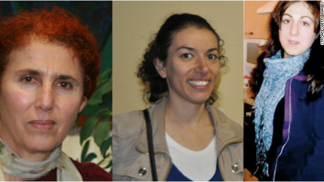 Three Kurdish victims Sakine Cansiz (left), Fidan Dogan (center) and Leyla Sonmez who were shot dead in Paris.