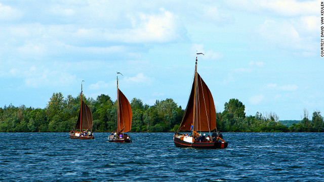 Boats sail on a lake near the town of Harderwijk in the Netherlands.