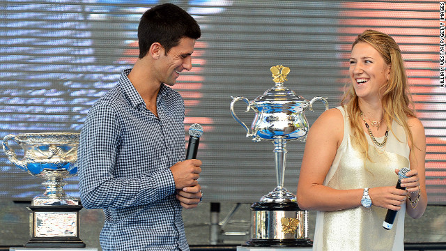 Defending Australian Open champions Novak Djokovic and Victoria Azarenka at the draw in Melbourne
