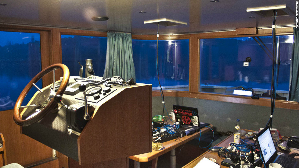 "The bridge aboard the Hackerfleet vessel, which doubles up as a hackathon hub. ""It's intense and we get very little sleep but the method is overwhelmingly beneficial as a source of ideas,"" says Ijon."