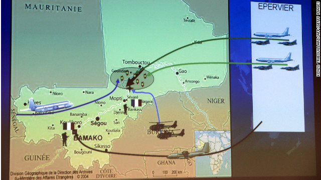 Map showing French troop movements  January 11 t in Mali.