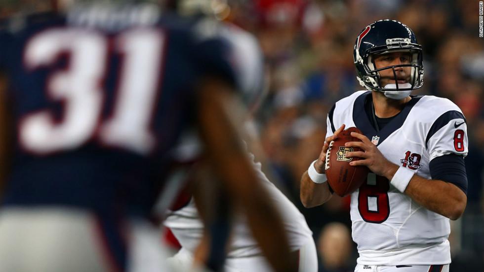 Matt Schaub of the Texans drops back against the Patriots on Sunday.