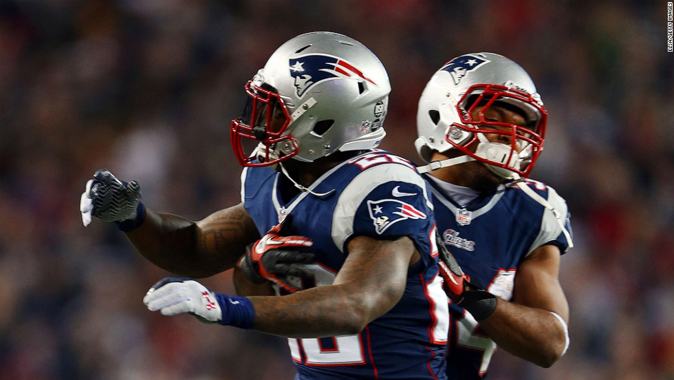Stevan Ridley of the New England Patriots, left, celebrates with Shane Vereen after scoring a touchdown in the third quarter against the Houston Texans.