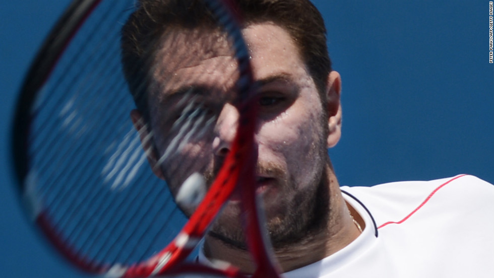 Switzerland's Stanislas Wawrinka plays a return to Germany's Cedrik-Marcel Stebe on January 14 during their men's singles match. Wawrinka won 6-2 6-4 6-3.